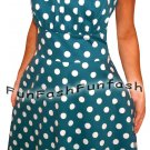 VZ1 FUNFASH NEW BLUE WHITE POLKA DOTS ROCKABILLY HALTER PLUS SIZE DRESS 1X XL 16