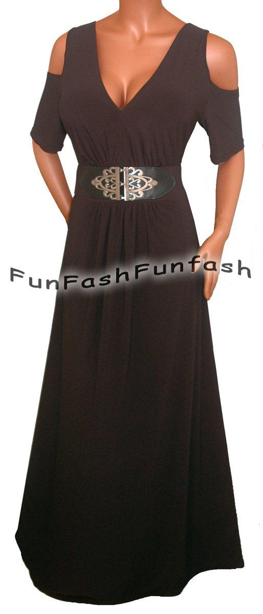 RK3 FUNFASH GOTHIC BLACK OPEN SHOULDERS LONG MAXI DRESS WOMEN Plus Size 2X 22 24