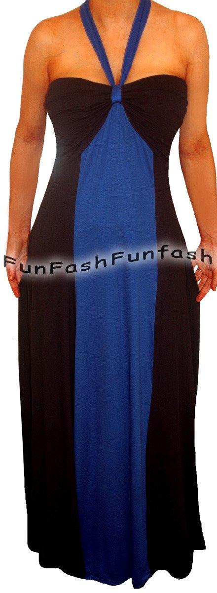 FX3 FUNFASH NEW BLUE BLACK COLOR BLOCK HALTER LONG MAXI PLUS SIZE DRESS 2X 22 24