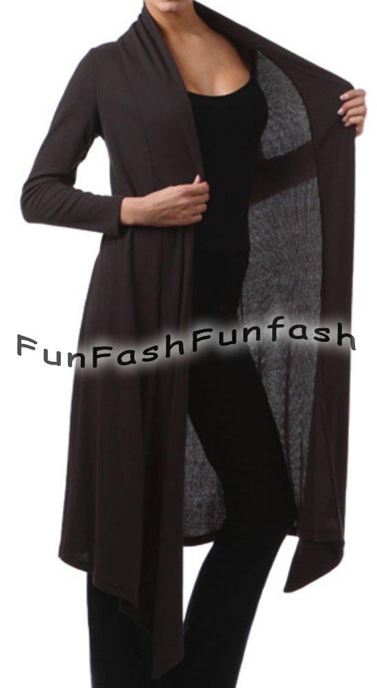 CR1 FUNFASH BLACK RIBBED LONG CARDIGAN DUSTER SWEATER JACKET Plus Size 1X XL 16