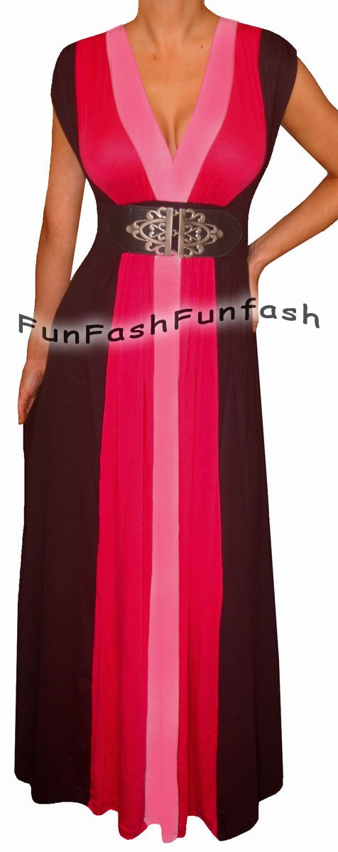 BC3 FUNFASH PINK BLACK COLOR BLOCK LONG MAXI COCKTAIL DRESS Plus Size 2X 22 24