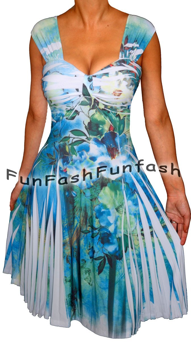 NL2 FUNFASH SLIMMING WHITE EMPIRE WAIST COCKTAIL CRUISE DRESS Plus Size 1X 18 20