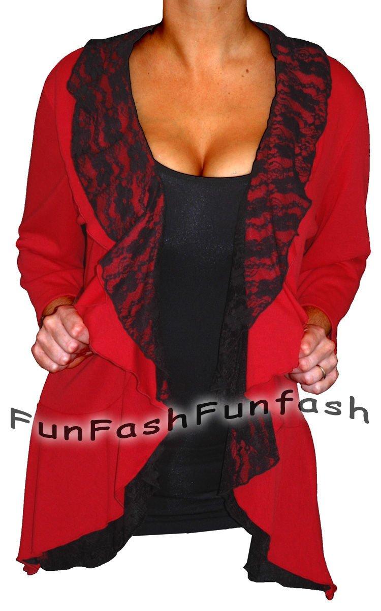 AT1 FUNFASH RED BLACK LACE LAYERED CARDIGAN TOP SHIRT WOMENS Plus Size 1X XL 16