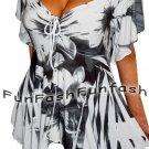 UT2 FUNFASH WHITE BLACK EMPIRE WAIST SLIMMING NEW TOP SHIRT Plus Size 1X 18 20