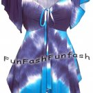 GW3 FUNFASH SLIMMING OMBRE BLUE WHITE WOMENS PLUS SIZE TOP SHIRT BLOUSE 2X 22 24