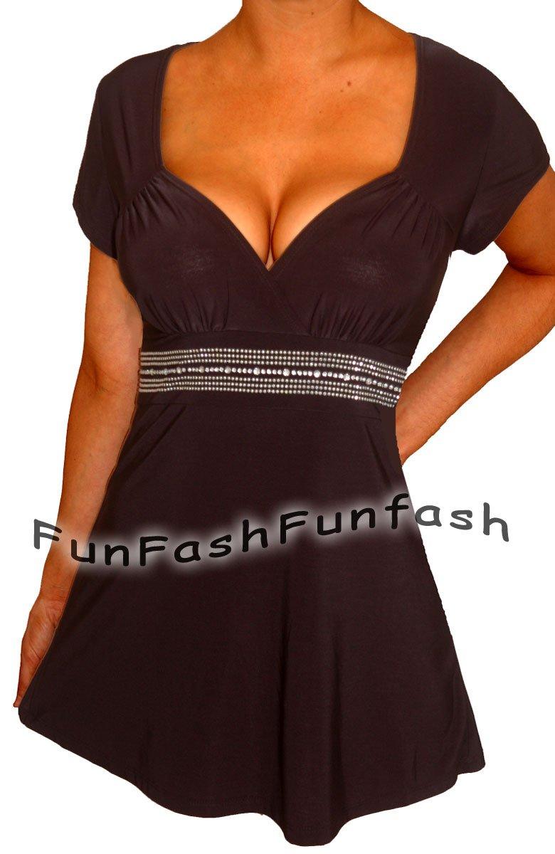 DD2 FUNFASH BLACK RHINESTONES EMPIRE WAIST WOMENS PLUS SIZE TOP SHIRT 1X 18 20