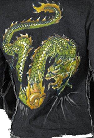 SeXy Black Denim Crop Bolero Jacket Dragon Size M 3 5