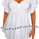 SU2 FUNFASH SLIMMING WHITE EMPIRE WAIST NEW PLUS SIZE TOP SHIRT BLOUSE 1X 18 20