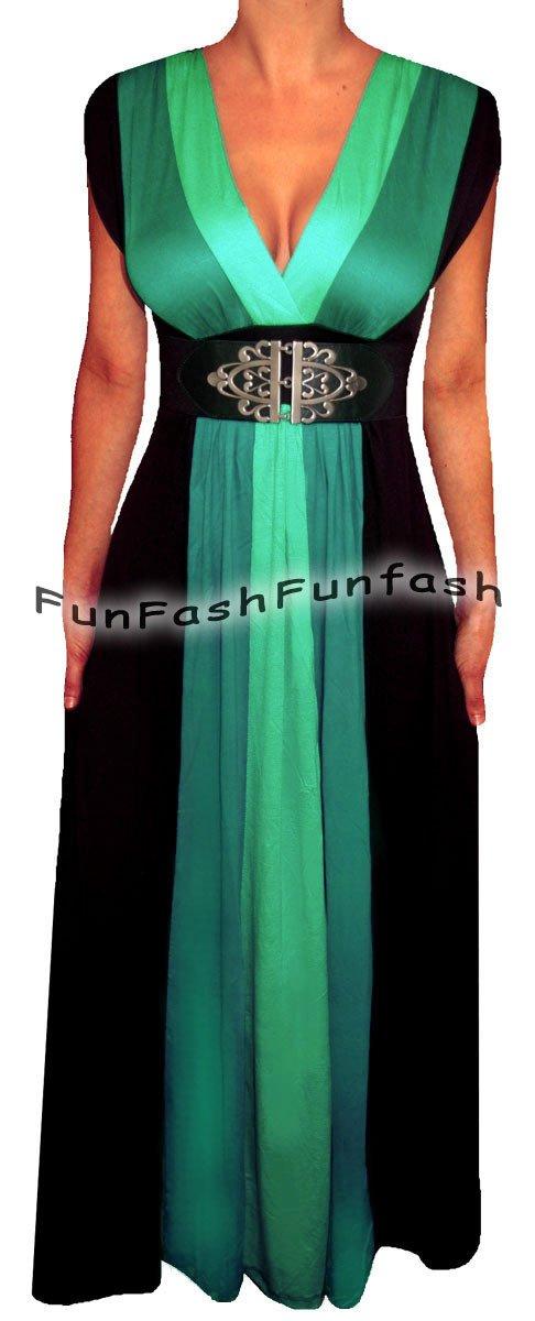 HH9 FUNFASH WOMENS PLUS SIZE SLIMMING COLOR BLOCK LONG MAXI DRESS L LARGE 9 11