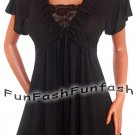 XM9 FUNFASH WOMENS PLUS SIZE SLIMMING BLACK LACE EMPIRE WAIST TOP SHIRT L 9 11
