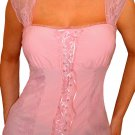 QR30 FUNFASH COTTON CANDY PINK LACE BUSTIER PLUS SIZE CORSET TOP SHIRT 2X 22 24