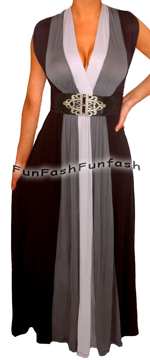 WP2 FUNFASH PLUS SIZE BLACK HEATHER GRAY LONG MAXI PLUS SIZE DRESS 1X 18 20