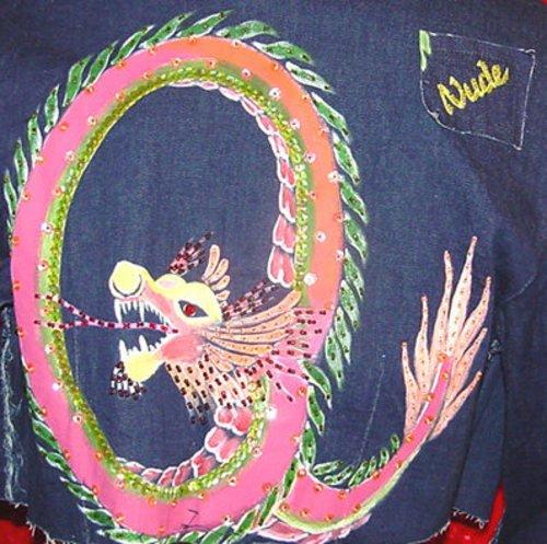 SeXy Beaded  Blue Denim Jacket Dragon Size S 1 3
