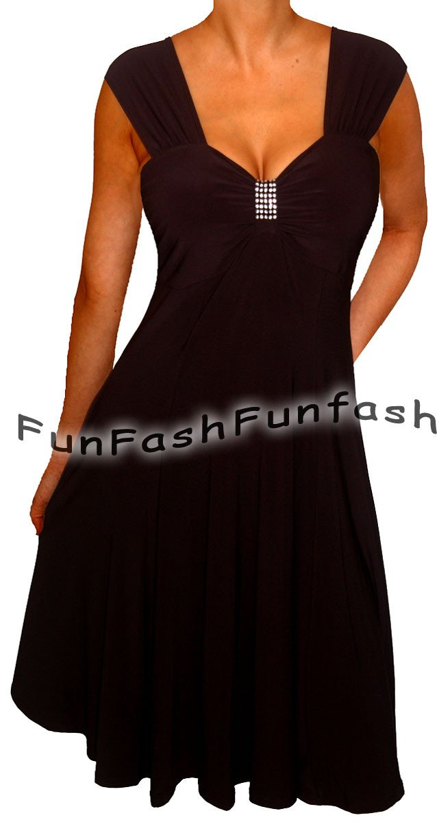 KF9 FUNFASH WOMENS PLUS SIZE DRESS SLIMMING EMPIRE WAIST COCKTAIL DRESS LARGE