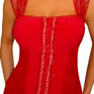 MY10 FUNFASH CANDY APPLE RED LACE BUSTIER PLUS SIZE CORSET TOP SHIRT 1X XL 16