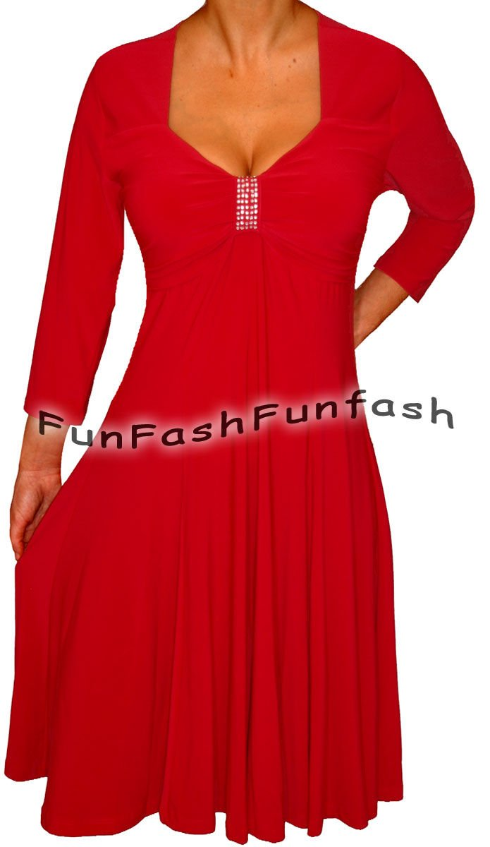 KH1 FUNFASH APPLE RED 3/4 SLEEVE EMPIRE WAIST COCKTAIL DRESS Plus Size 1X XL 16