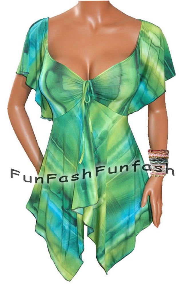 ZF1 FUNFASH EMERALD GREEN EMPIRE WAIST TOP SHIRT CLOTHING NEW Plus Size XL 1X 16