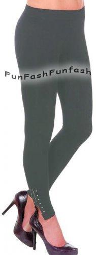 MJ~NEW DARK GRAY LEGGINGS TIGHT ZIPPER PANTS JEGGINGS One Size S M L 3 5 7 9 11