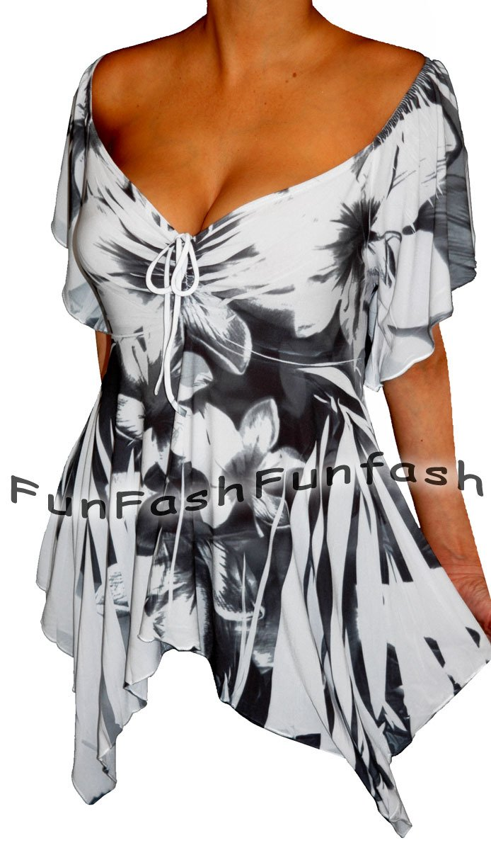 UT9 FUNFASH WHITE BLACK EMPIRE WAIST SLIMMING NEW TOP SHIRT Size L Large 9 11