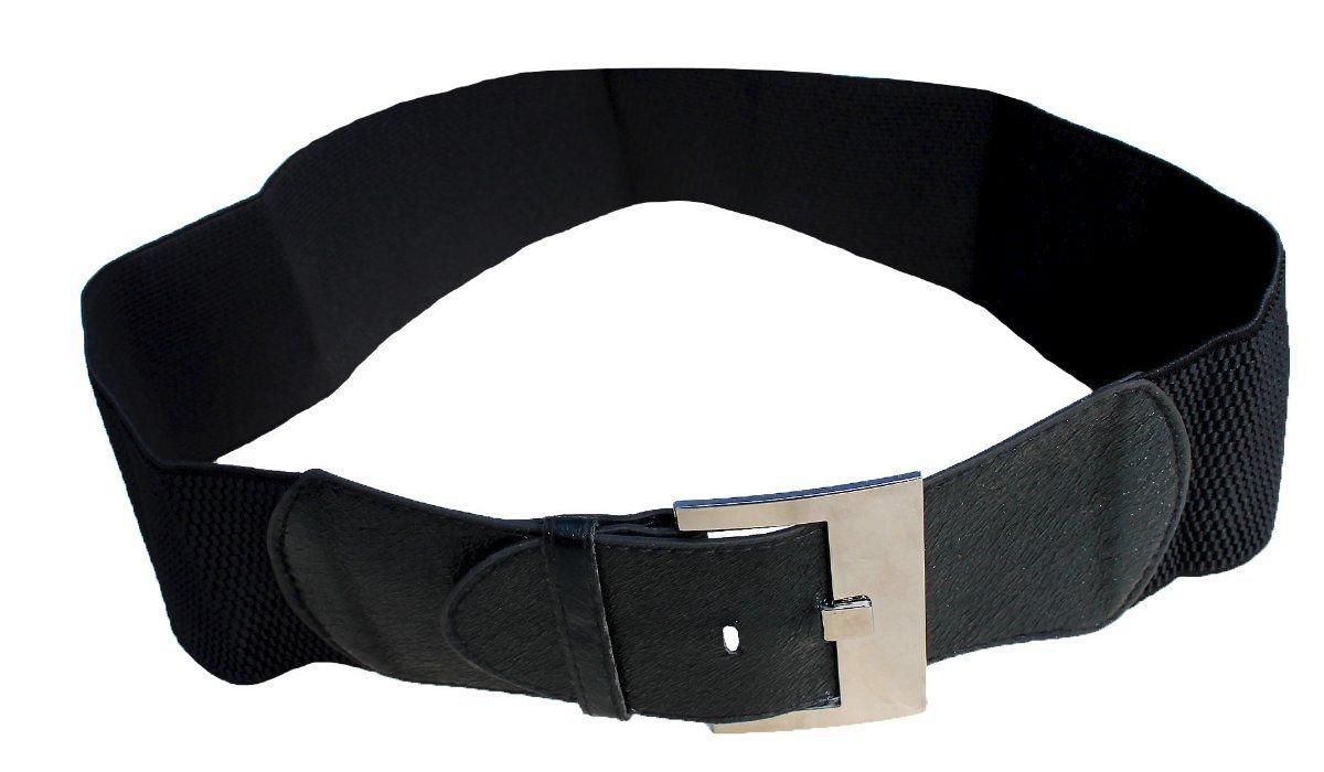 B006 Funfash Plus Size New Black Leatherette Silver Buckle Elastic Belt One Size