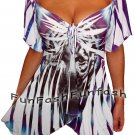 WL3 FUNFASH SLIMMING WHITE TIGER FACE EMPIRE WAIST TOP SHIRT Plus Size 2X 22 24