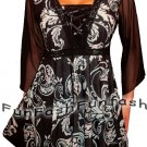 GQ9 FUNFASH PLUS SIZE CORSET STYLE BLACK AQUA BLUE WOMEN TOP SHIRT BLOUSE L 9 11