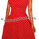 GT9 FUNFASH RED WHITE POLKA DOTS ROCKABILLY PEASANT DRESS Size L Large 9 11 USA