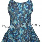WB9 FUNFASH BLUE BLACK SWIMWEAR SWIMSUIT BATHING SUIT SWIMDRESS SIZE LARGE 9 11