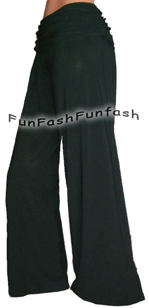 FD1 FUNFASH PANTS FLARE LONG BLACK GAUCHO PALAZZO Plus Size 1X XL 16 Made in USA