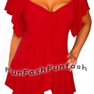 NI1 FUNFASH EMPIRE WAIST SLIMMING APPLE RED PLUS SIZE TOP SHIRT BLOUSE 1X XL 16