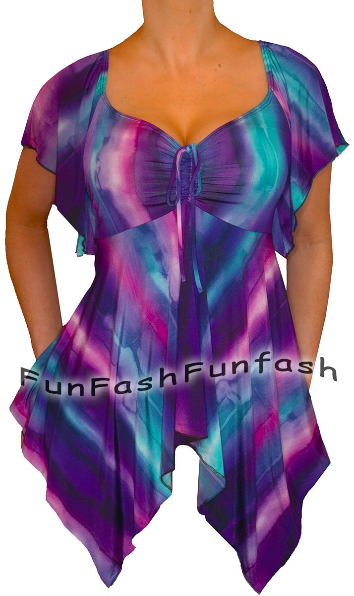 ZN9 FUNFASH SLIMMING PURPLE EMPIRE WAIST TOP SHIRT CLOTHING Size L Large 9 11