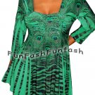 IR9 FUNFASH EMERALD GREEN RHINESTONES EMPIRE WAIST TOP SHIRT Size L Large 9 11