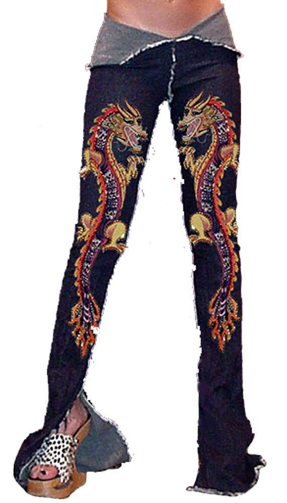 ZV9 FUNFASH SKINNY MARIGOLD BEADED DRAGON DENIM PANTS JEANS Size L LARGE 9/11