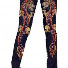 ZV9 FUNFASH SKINNY MARIGOLD BEADED DRAGON DENIM PANTS JEANS Size L LARGE 9/11