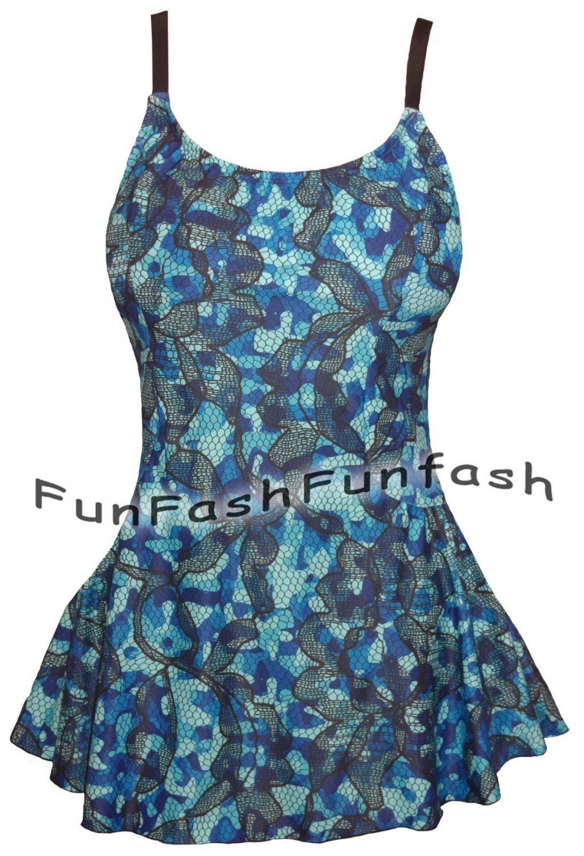 WB1 FUNFASH BLUE PLUS SIZE SWIMWEAR SWIMSUIT BATHING SUIT SWIM SKIRT 1X XL 16