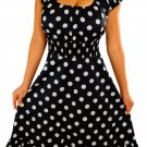 GM9 FUNFASH DRESS BLACK WHITE POLKA DOTS ROCKABILLY WOMENS DRESS SIZE LARGE 9 11