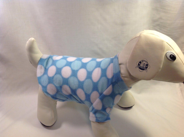 dog shirt X SMALL Brand New Handmade blue dots dog shirts fleece sweater sweatshirt puppy