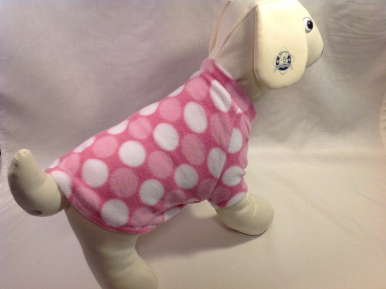 dog shirt X SMALL Brand New Handmade pink dots dog shirts fleece sweater sweatshirt puppy