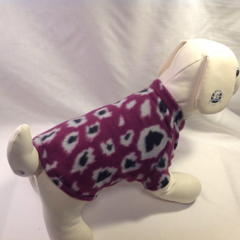 dog shirt X SMALL purple cheetah dog shirts fleece sweater sweatshirt puppy