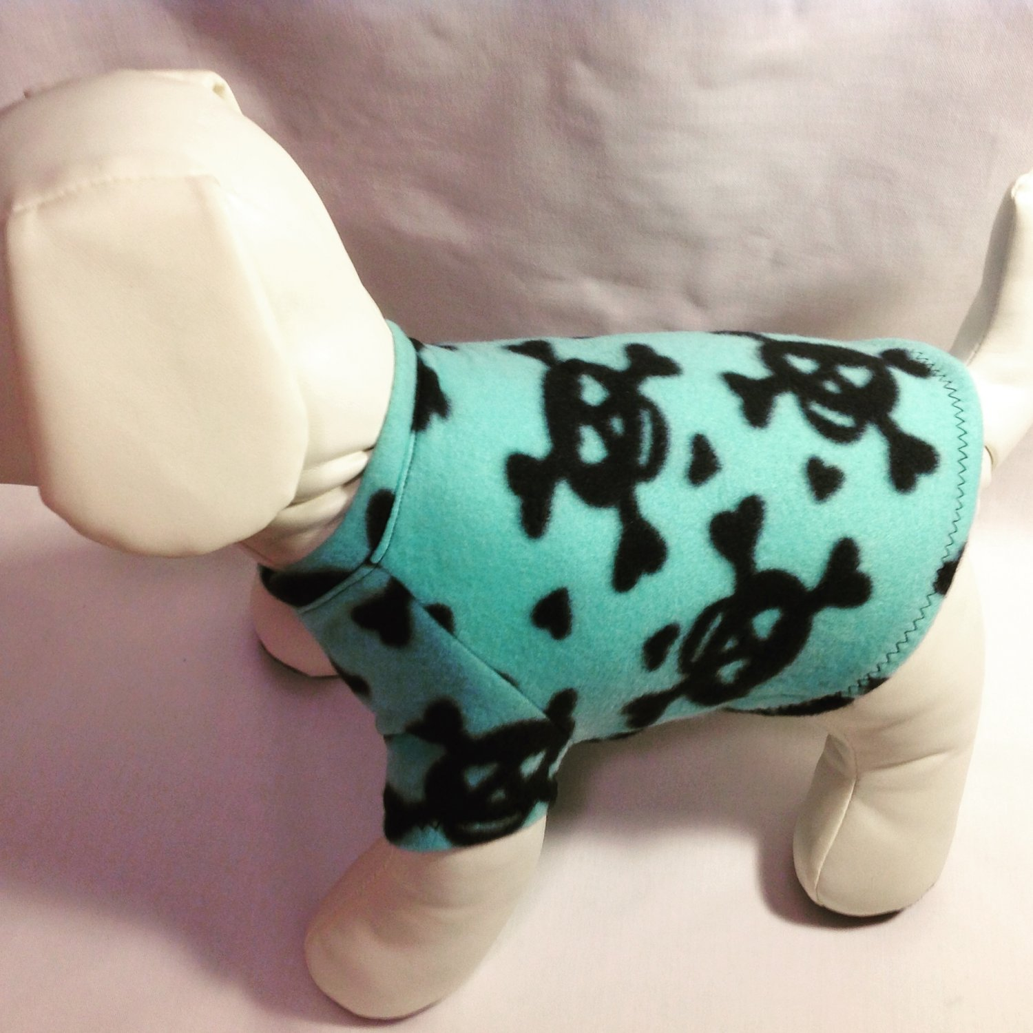 dog shirt SMALL mint blue green with skulls dog shirts fleece sweater sweatshirt puppy