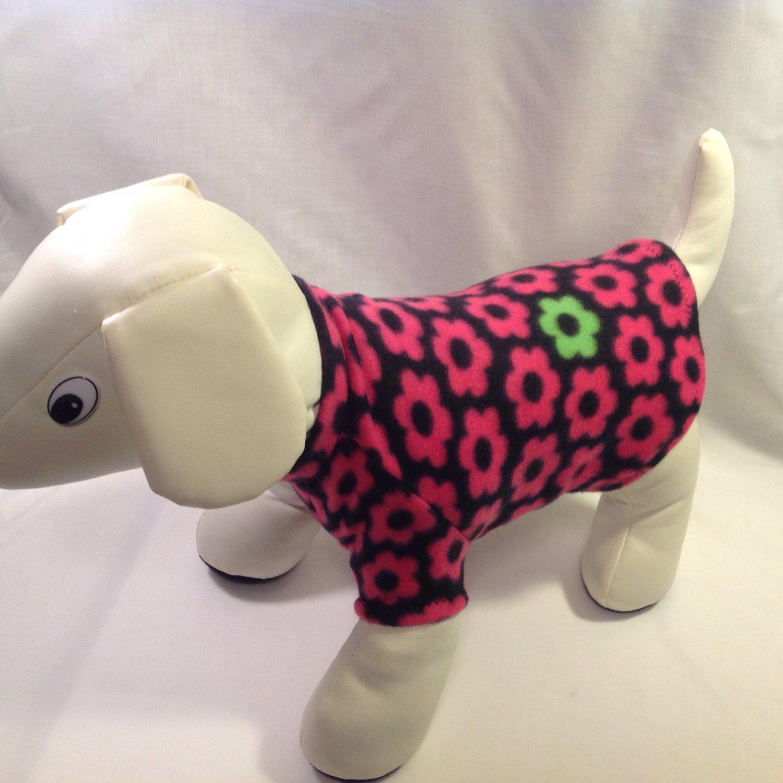dog shirt SMALL black with pink daisies dog shirts fleece sweater sweatshirt puppy