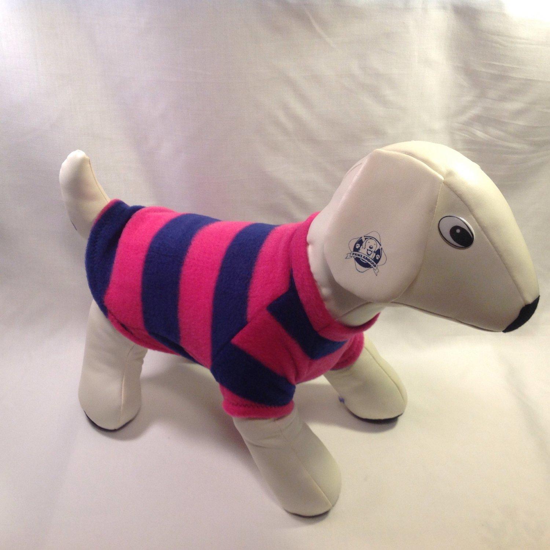 dog shirt MEDIUM pink and navy striped dog shirts fleece sweater sweatshirt puppy