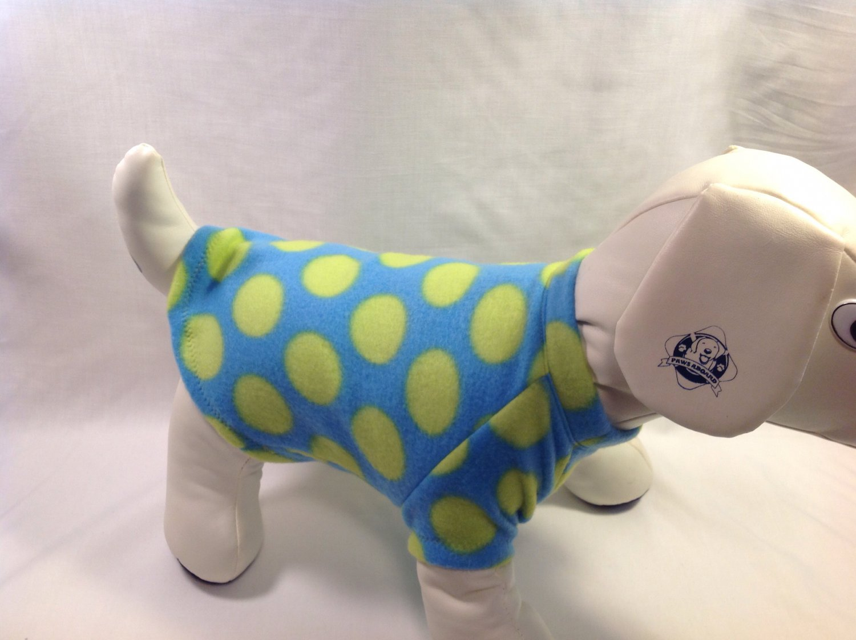 dog shirt LARGE blue lime dots dog shirts fleece sweater sweatshirt puppy