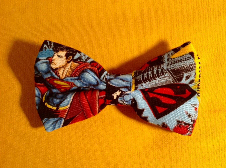 Bow tie men superman clip on cotton pretied superhero
