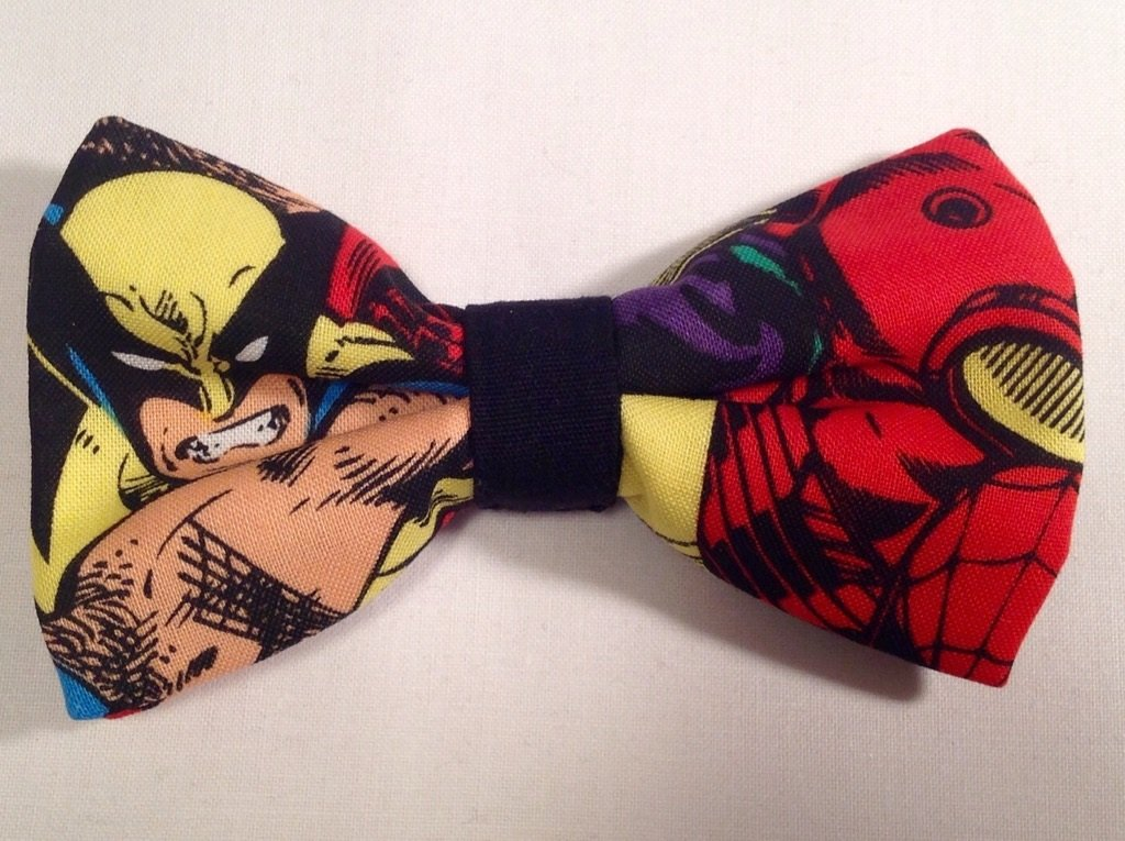 Bow tie men wolverine comic clip on cotton pretied superhero
