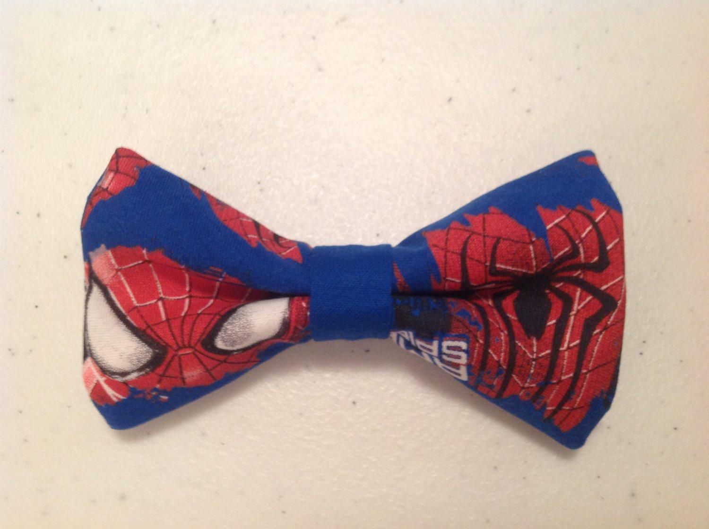 Bow tie men spiderman eyes clip on cotton pretied superhero