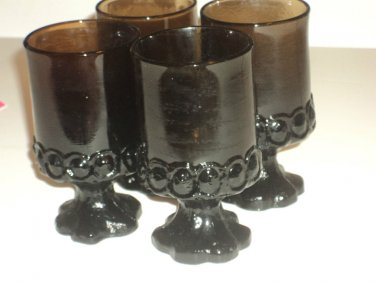 Vintage Tiffin Jamoca Madeira wine / beverage dark glasses 4 pcs