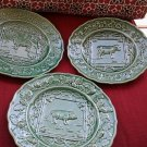 3 Pcs VINTAGE BORDALLO PINHEIRO GREEN  PLATES,Sheep,Cow & Pig , MADE IN PORTUGAL