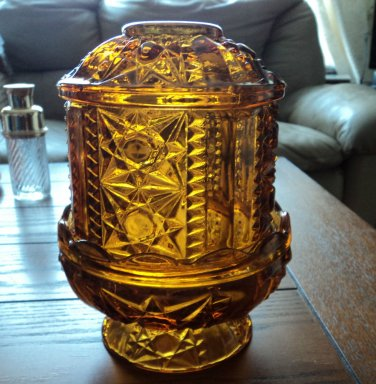Vintage Indiana Glass Stars & Bars Amber Colored Fairy Lamp 2 pc