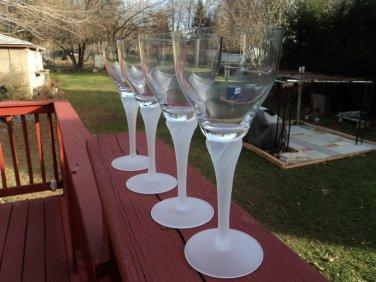 "MIKASA 4 Wine Goblets Glasses FROSTED STEM & FOOT- SWIRL STEMS 7"" TALL ELEGANT!!"